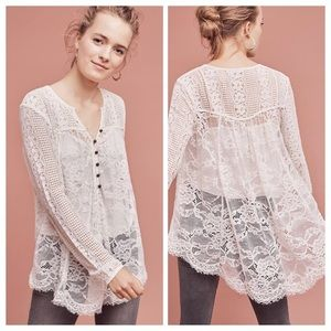 Anthropology Floreat Scalloped Lace Top.